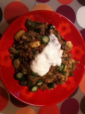 Zucchini with green lentils